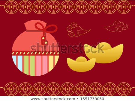 Postcard with Fortune Bag, Lucky Card, Sack Vector Stock photo © robuart