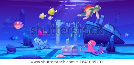 Ocean Underwater Background with Fishes and sunken ship, Sea plants and Reefs. Vector Stock photo © Andrei_