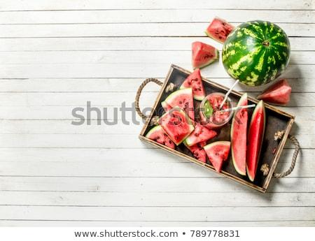 watermeloen · witte · houten · tafel · keuken · vruchten · Rood - stockfoto © jamesS