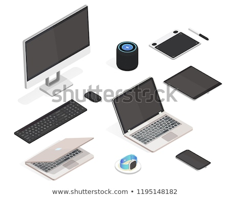 Keyboard of a pc with a notebook and a mouse on a desktop Stock photo © mizar_21984