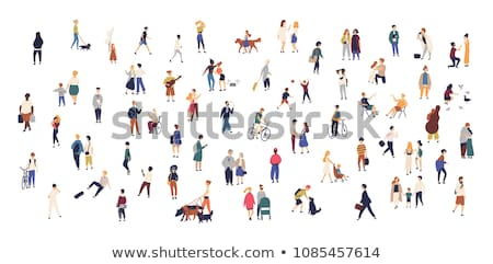 Adult and Children Outdoor, People Activity Vector Stock photo © robuart