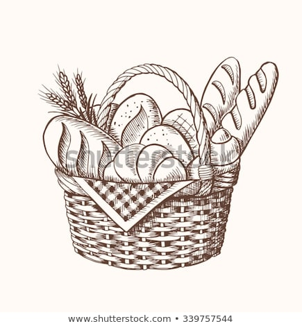 Tasty Pastry Bakery, Cookies and Bread in Basket Stock photo © robuart