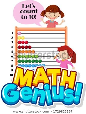 Doopvont ontwerp math genie twee meisjes Stockfoto © bluering