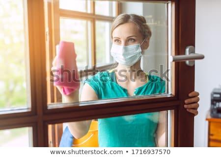 Vrouw schoonmaken Windows leven buren masker Stockfoto © Kzenon