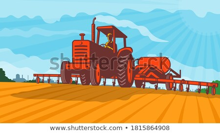 Farm traktor húz nitrogén tank retro Stock fotó © patrimonio