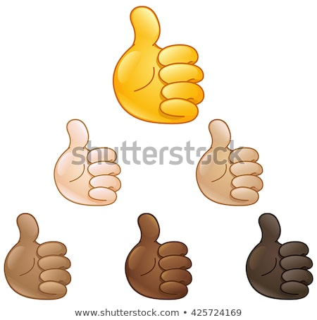 Cartoon black hand in thumbs-up gesture on white Stock photo © evgeny89