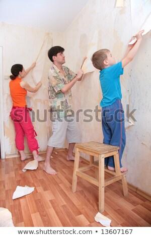 Fiú segítség szülők ragasztó tapéták család Stock fotó © Paha_L