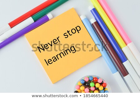 Never - word written in colorful chalk Stock photo © bbbar