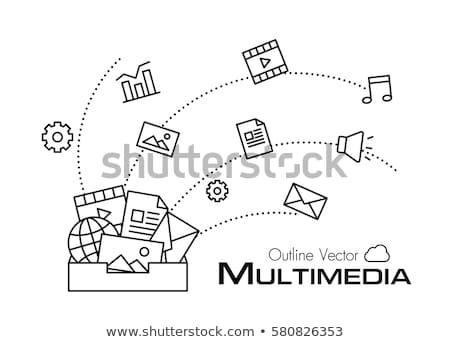 absztrakt · többszörös · posta · ikon · számítógép · papír - stock fotó © pathakdesigner