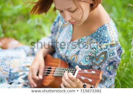 fiatal · gitár · fehér · háttér · zene · mosoly - stock fotó © photography33