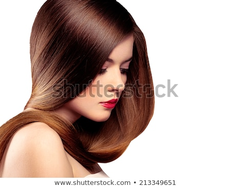 Beautiful Brunette Girl with red lips. Healthy Long Hair isolate Stock photo © Victoria_Andreas