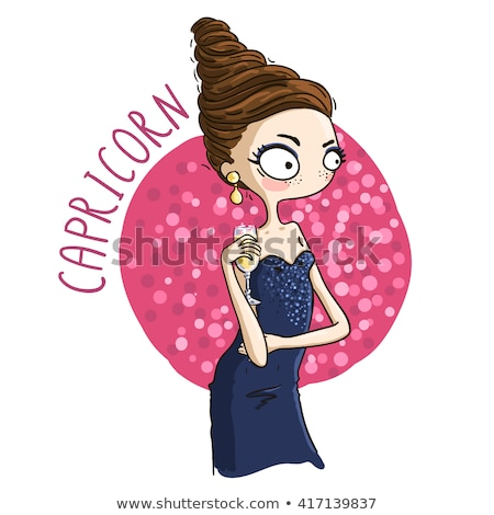 woman cartoon illustration capricorn sign Stock photo © izakowski