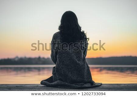 Seduta fiume ragazza bianco carnevale Foto d'archivio © carlodapino