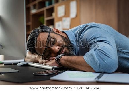 Stok fotoğraf: Işadamı · uyku · klavye · ofis · bilgisayar · dizüstü · bilgisayar
