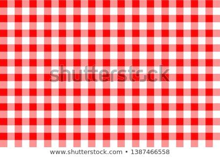 piros · piknik · asztal · ruha · kockás · tér · részletek - stock fotó © kitch