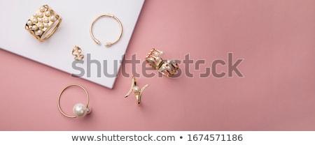 Takı inci kolye altın küpe beyaz Stok fotoğraf © cobaltstock
