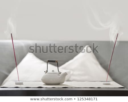 Theepot wierook stick tabel comfortabel ontspanning Stockfoto © HASLOO