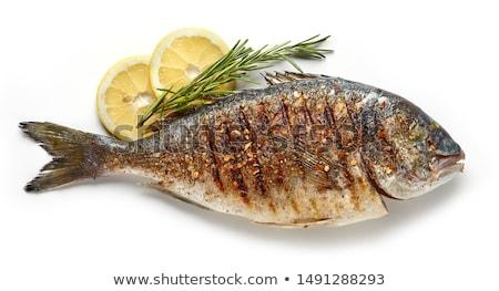 焼き 魚 ディナー 静物 シーフード 花 ストックフォト © DonLand