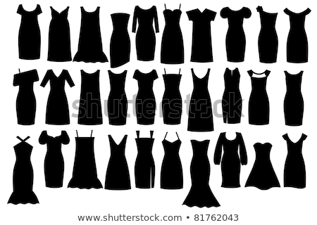 weinig · zwarte · jurk · mooie · slank · brunette · meisje - stockfoto © stepstock