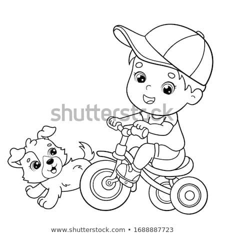 Erkek binicilik üç tekerlekli bisiklet sevimli park spor Stok fotoğraf © artisticco