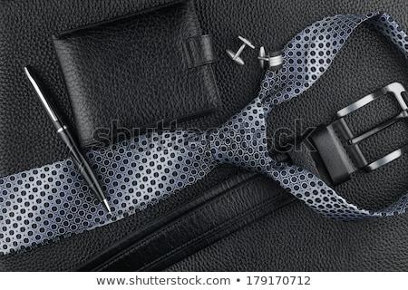 Nyakkendő mandzsettagombok bőr konzerv használt textúra Stock fotó © alekleks