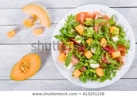 Dinnye saláta sonka nyár friss étel Stock fotó © M-studio