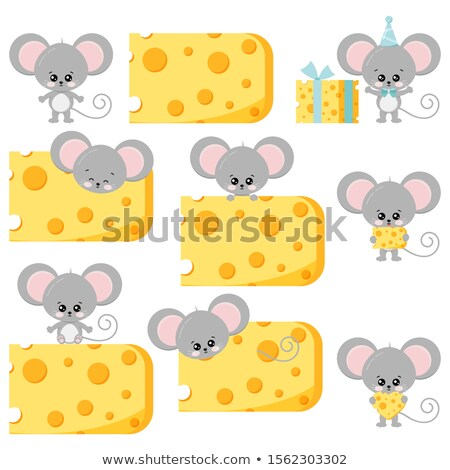 Toy mouse with cheese isolated on white Stock photo © anmalkov