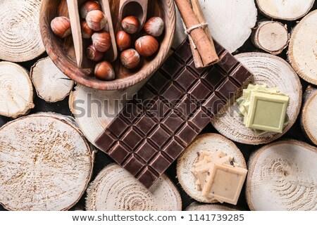 Stock fotó: Darabok · csokoládé · diók · fa · háttér · asztal