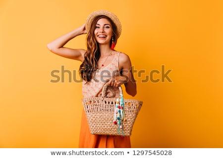 幸せ · 笑みを浮かべて · かなり · 若い女性 · サングラス · 座って - ストックフォト © dash