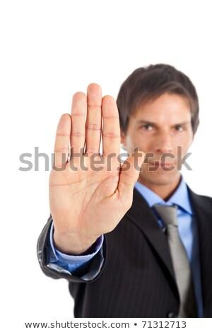 Homem de negócios sinal de parada isolado branco mão Foto stock © hsfelix