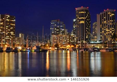 Yachts in Ala Moana harbor in Waikiki at night Stock photo © backyardproductions