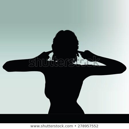 Kobieta sylwetka gest obracać głuchy ucha Zdjęcia stock © Istanbul2009
