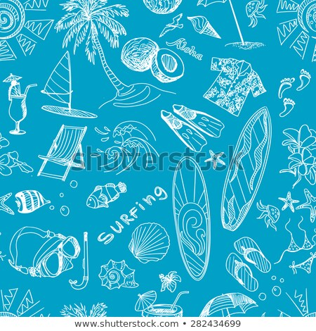 colored surfing hand draw pattern stock photo © netkov1