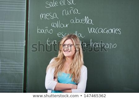 学ぶ 外国の 言語 黒板 時間 ストックフォト © tashatuvango