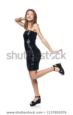 танцы девушки черный вечернее платье изолированный белый Сток-фото © Elnur