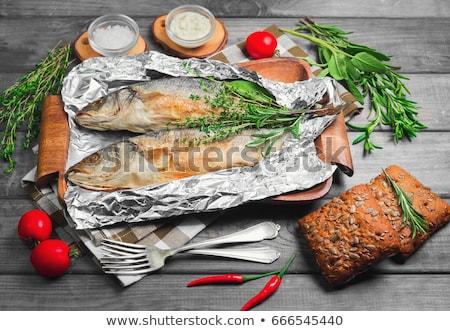 Dos frescos trucha estaño alimentos mariscos Foto stock © Digifoodstock