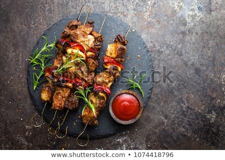 grillezett · kebab · paradicsomok · étel · háttér · zöld - stock fotó © digifoodstock