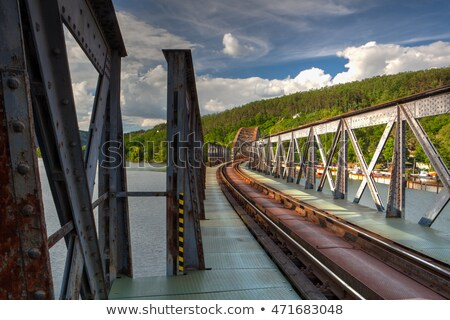 Single track railway bridge over the Vltava river - HDR Image Stock photo © CaptureLight