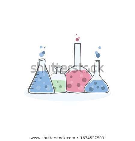 Farklı kimyager örnek beyaz cam arka plan Stok fotoğraf © bluering