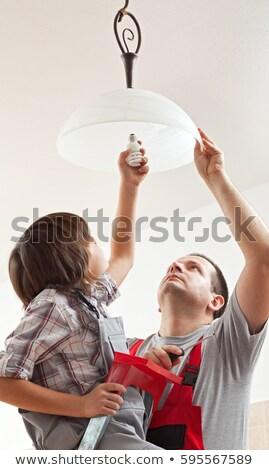 menino · lâmpada · teto · lâmpada · fluorescente - foto stock © lightkeeper