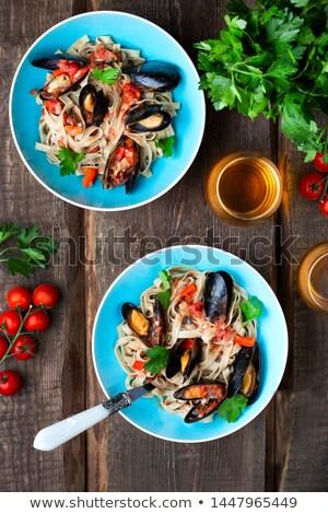 Tál tengeri hal tagliatelle étel hal tészta Stock fotó © monkey_business