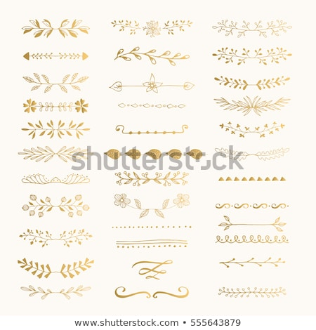Golden page dividers and ornamental elements - vector set Stock photo © blue-pen