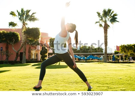 Incredible young fitness lady make stretching exercises Stock photo © deandrobot