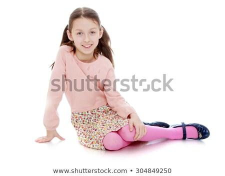 Foto stock: Bonitinho · menina · sessão · piso · isolado · quadro