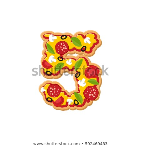 Number 5 pizza font. Italian meal alphabet numeral five. Lettrin Stock photo © popaukropa