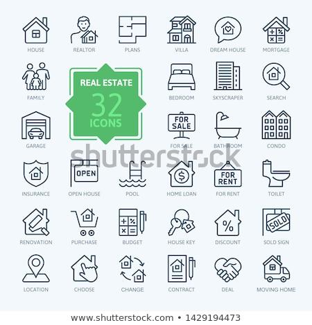 onroerend · verzekering · lijn · icon · vector · geïsoleerd - stockfoto © rastudio