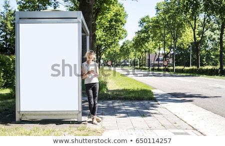 Genç kız otobüs durağı örnek genç kız bekleme okul Stok fotoğraf © lenm