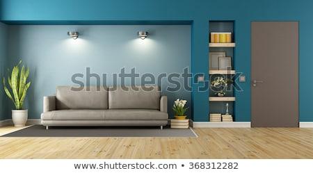 Photo stock: Closed Door With Sofa On Wooden Floor In Living Room
