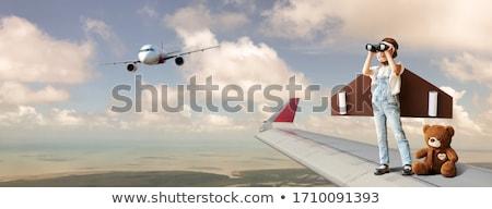 vôo · seis · menina · homem · criança · viajar - foto stock © is2