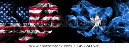 Piłka nożna płomienie banderą Somali czarny 3d ilustracji Zdjęcia stock © MikhailMishchenko